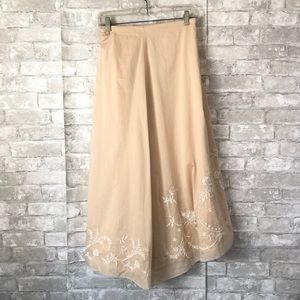J Jill Long Cotton Skirt Embroidered Large